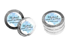 A Splash Of Watercolour Blue Personalised Chocolate Coins