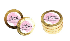 A Splash Of Watercolour Pink Personalised Chocolate Coins