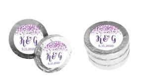 Purple Confetti Personalised Chocolate Coins
