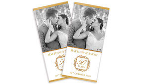 Photo And Emblem In Gold Wedding Anniversary Chocolates