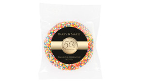 Band In Gold Black Anniversary Personalised Chocolate Freckle
