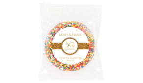 Band In Gold White Anniversary Personalised Chocolate Freckle