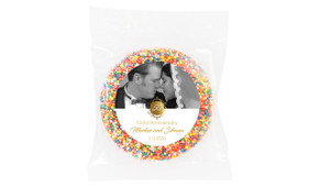 Vertical Then & Now Gold Anniversary Personalised Chocolate Freckle