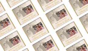 Vertical Then & Now Gold Anniversary Personalised Mini Chocolates