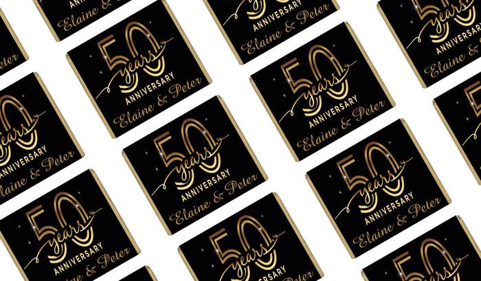 Big Number Gold Anniversary Personalised Mini Chocolates