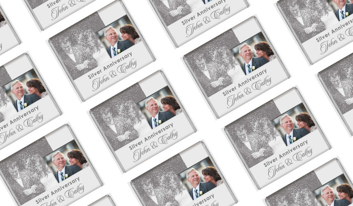 Vertical Then & Now Silver Anniversary Personalised Mini Chocolates