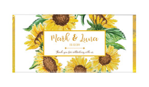 Sunflower Personalised Wedding Chocolate Bars