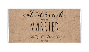 Eat, Drink & Be Married Kraft Custom Wedding Chocolate Bars