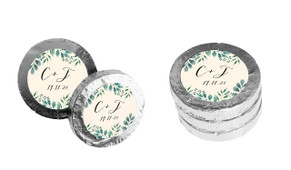 Branches On Cream Personalised Wedding Chocolate Coins