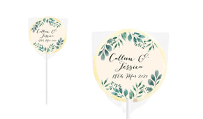 Branches On Cream Personalised Wedding Lollipops