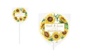 Sunflower Personalised Wedding Lollipops