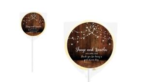 Wood Bunting Personalised Wedding Lollipops