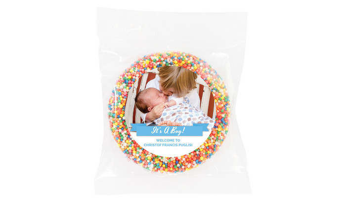 Banner Photo Blue Birth Announcement Giant Freckles