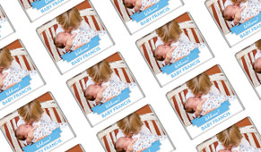 Banner Photo Blue Birth Announcement Custom Mini Chocolates