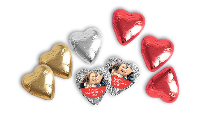 Foil Covered Personalised Chocolate Hearts