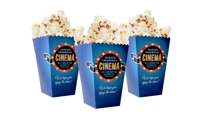 Customised 10cm Pop Corn Box With Pop Corn