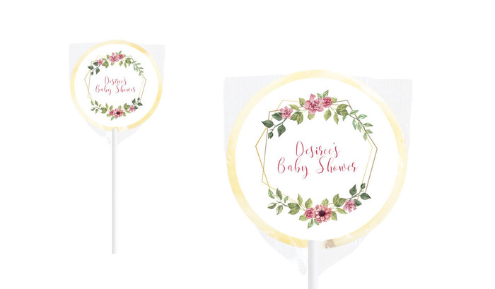 Floral Hexagons Baby Shower Personalised Lollipop