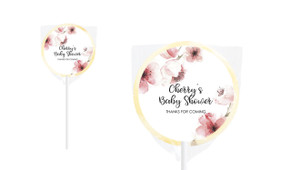 Cherry Blossoms Baby Shower Personalised Lollipop