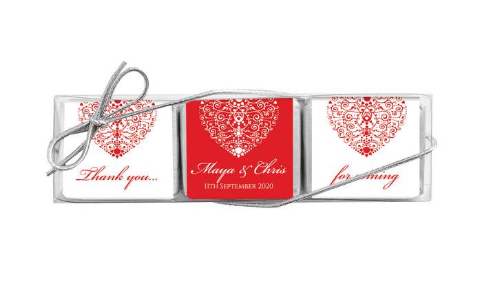 Heart Ornament Mini Chocolate Trio Wedding Favour