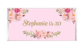 Florals On Pink Custom Birthday Chocolate Bar