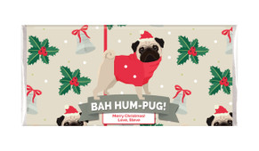 Bah Hum-Pug Personalised Christmas Chocolate Bars