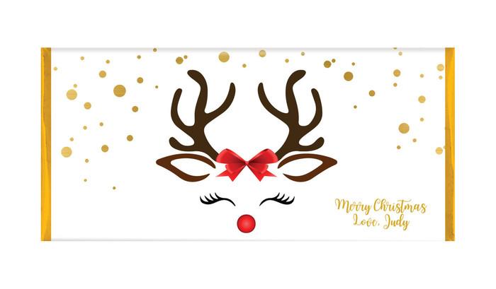 Reindeer Face Personalised Christmas Chocolate Bars