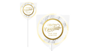 Marble & Gold Personalised Christmas Lollipops