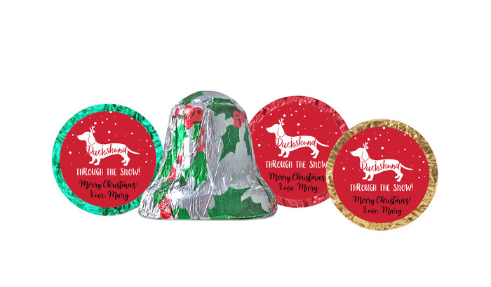 Dachshund Through The Snow Personalised Chocolate Bells