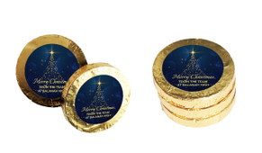Blue Night Personalised Christmas Chocolate Coins