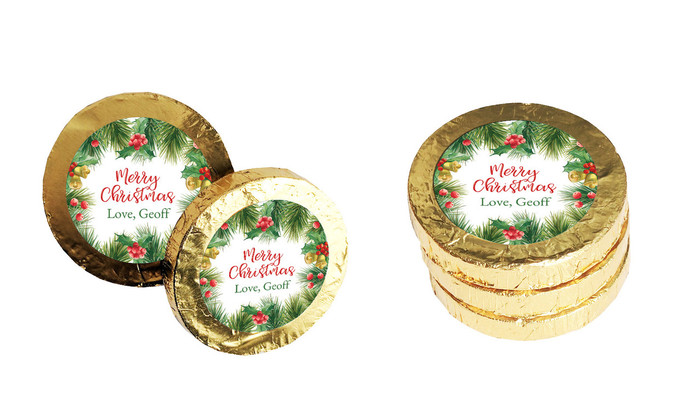 Branch Border Personalised Christmas Chocolate Coins