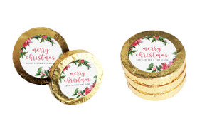 Poinsettias Personalised Christmas Chocolate Coins