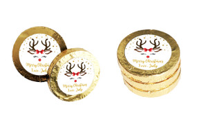Reindeer Face Personalised Christmas Chocolate Coins