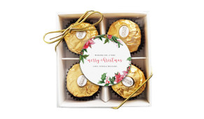 Poinsettia Personalised Christmas Ferrero Rocher Gift Box