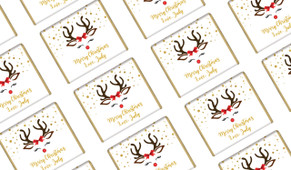 Reindeer Face Christmas Personalised Mini Chocolates