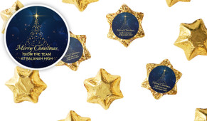 Blue Night Personalised Christmas Chocolate Stars