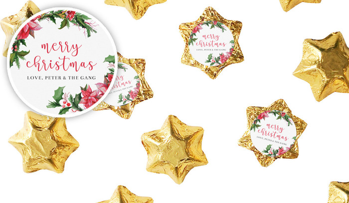 Poinsettia Personalised Christmas Chocolate Stars