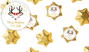 Reindeer Face Personalised Christmas Chocolate Stars