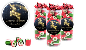 Glowing Reindeer Custom Christmas Rock Candy Tube
