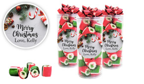 Christmas Background Personalised Christmas Rock Candy Tube