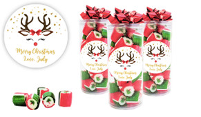 Reindeer Face Custom Christmas Rock Candy Tube