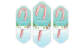 A Watercolour Christmas Personalised Candy Cane Card