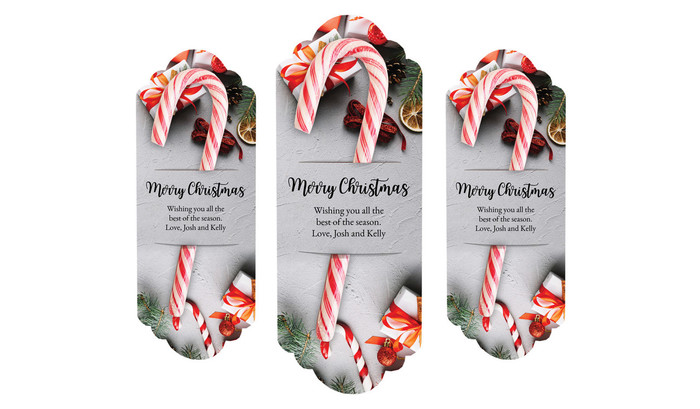 Christmas Background Personalised Candy Cane Card