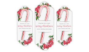 Poinsettia Personalised Christmas Candy Cane Card