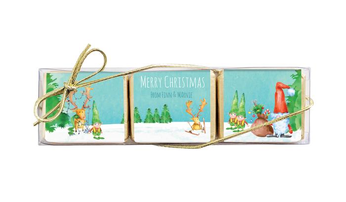 A Watercolour Christmas Mini Chocolate Trio Favour