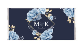 Flowers On Navy Custom Engagement Chocolate Bar