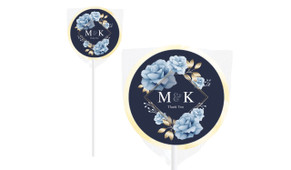 Flowers On Navy Personalised Engagement Lollipops