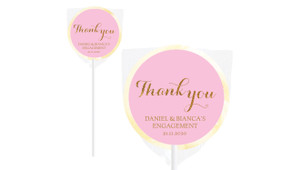 Golden Thank You Personalised Engagement Lollipops
