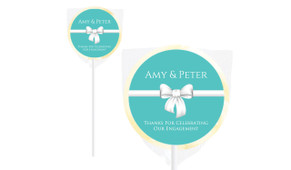 Turquoise Blue Bow Personalised Engagement Lollipops