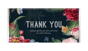 Floral Border On Black Thank You Personalised Chocolate Bar
