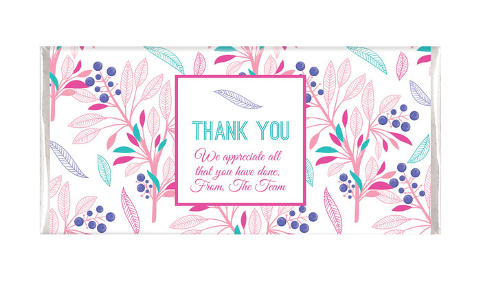 Fresh Floral Thank You Personalised Chocolate Bar